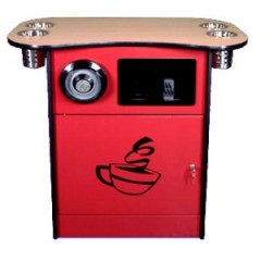 All State OCS250TR/CD Red Coffee Stand w/Trash Chute and Cup Dispenser Red
