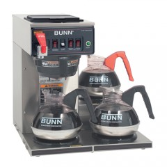 Bunn CWTF15-3 12 Cup Automatic Coffee Brewer with 3 Lower Warmers