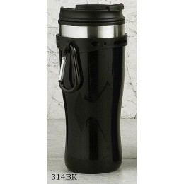 European Gift 314BK Black Tumbler with Hang Clip and Screw Lid 16 oz