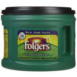 Folgers Classic Roast Ground Decaf Coffee, 22.6 oz Each, 6 Cans Total